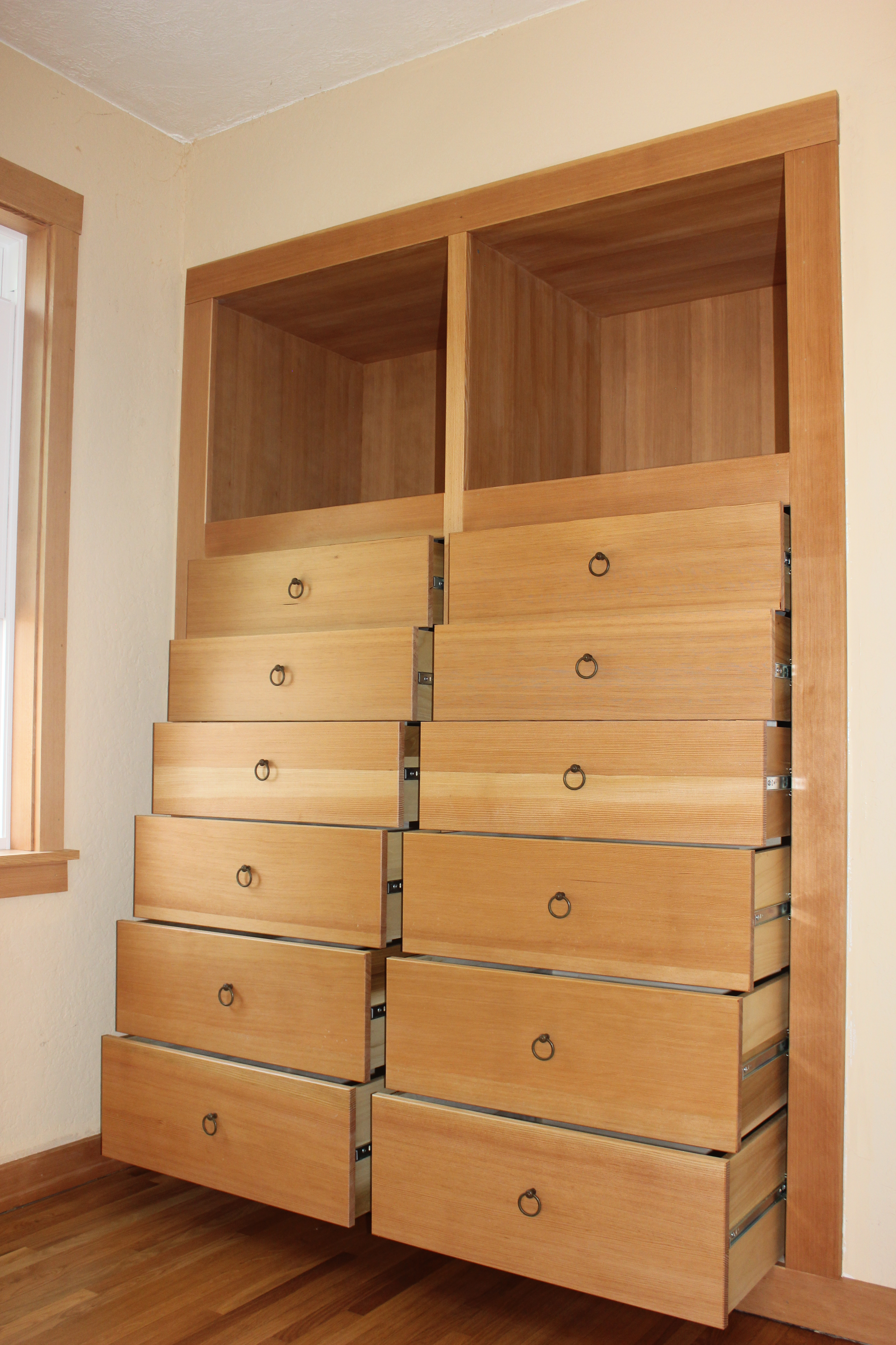 Built in dresser with drawers open
